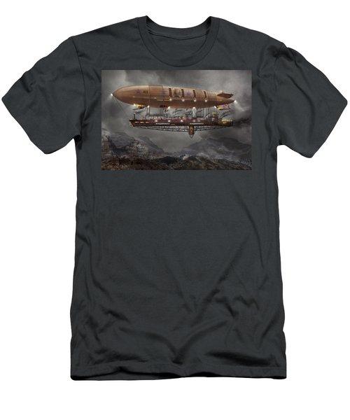 Steampunk - Blimp - Airship Maximus  Men's T-Shirt (Slim Fit) by Mike Savad