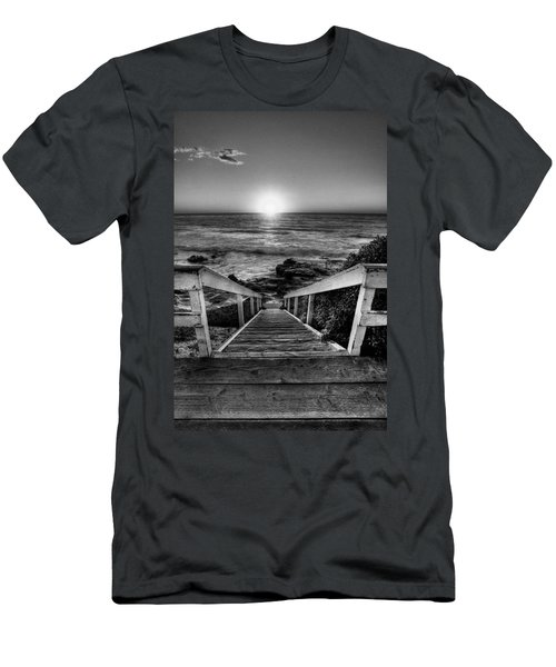 Steps To The Sun  Black And White Men's T-Shirt (Athletic Fit)