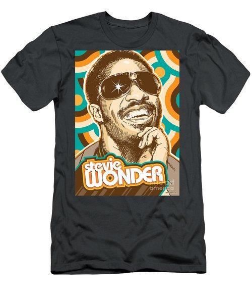 Stevie Wonder Pop Art Men's T-Shirt (Athletic Fit)