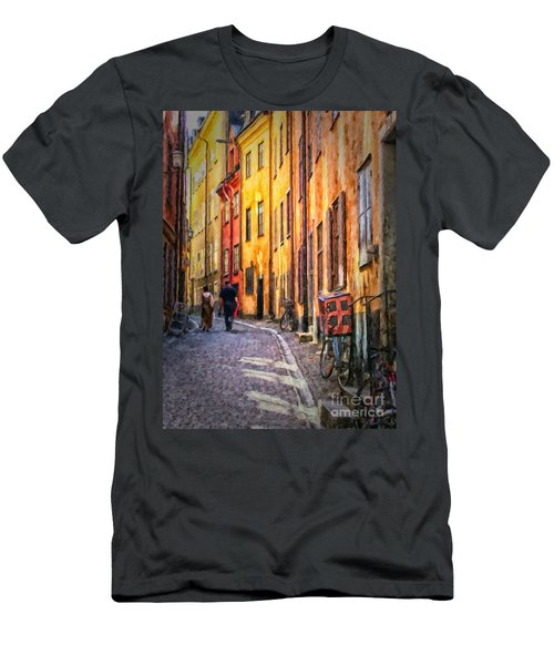 Stockholm Gamla Stan Painting Men's T-Shirt (Athletic Fit)