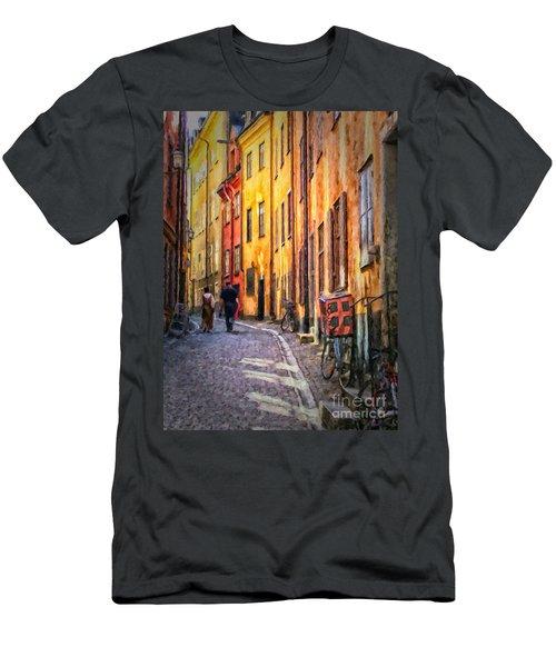Stockholm Gamla Stan Painting Men's T-Shirt (Athletic Fit)