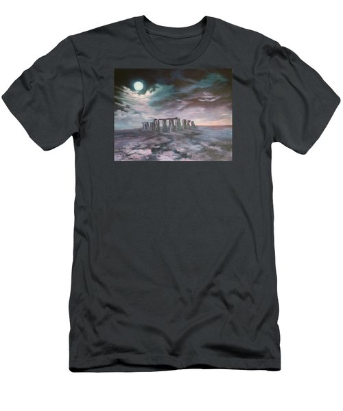 Men's T-Shirt (Slim Fit) featuring the painting Stonehenge In Wiltshire by Jean Walker
