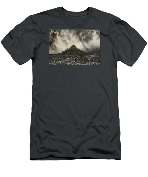 Men's T-Shirt (Slim Fit) featuring the painting Storm Over St Michaels Mount Cornwall by Jean Walker