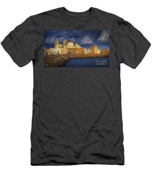 Stormy Skies Over The Cathedral Cadiz Spain Men's T-Shirt (Athletic Fit)