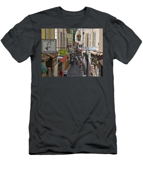 Men's T-Shirt (Slim Fit) featuring the photograph Street Scene In Antibes by Allen Sheffield