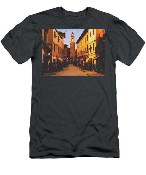 Men's T-Shirt (Slim Fit) featuring the painting Street Scene by Sophia Schmierer