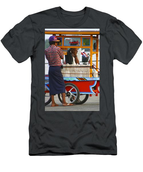 Street Seller At The Foreshore Of The Yangon River Yangon Myanmar Men's T-Shirt (Athletic Fit)