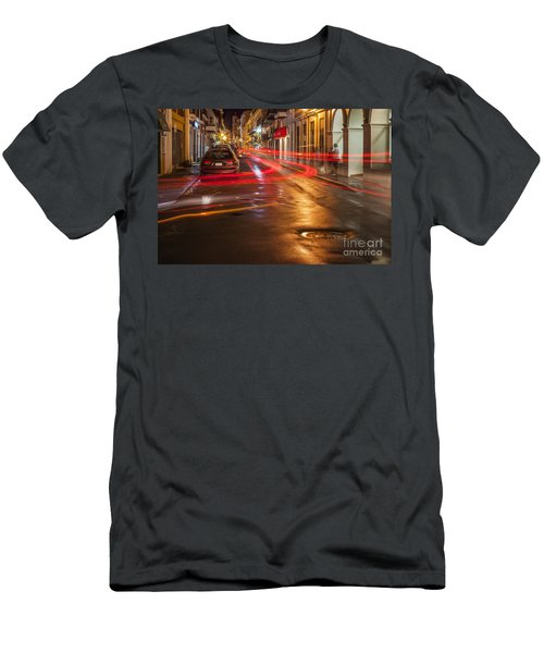 Men's T-Shirt (Athletic Fit) featuring the photograph Streetscene At Night In Old San Juan Puerto Rico by Bryan Mullennix