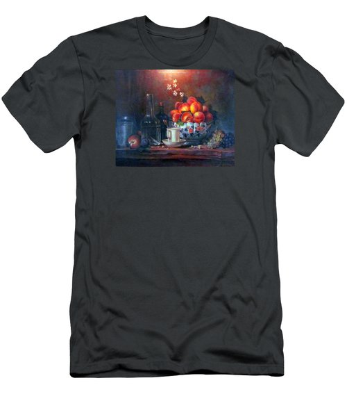Men's T-Shirt (Slim Fit) featuring the painting Study Of Peaches by Donna Tucker