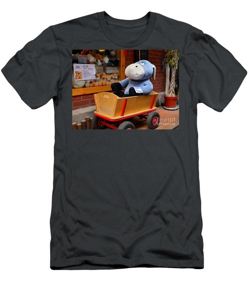 Stuffed Donkey Toy In Wooden Barrow Cart Men's T-Shirt (Athletic Fit)