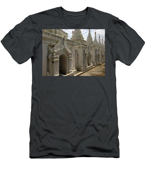 Men's T-Shirt (Slim Fit) featuring the photograph Stupas With Buddhist Inscription Slabs Sandamuni Pagoda Mandalay Burma by Ralph A  Ledergerber-Photography