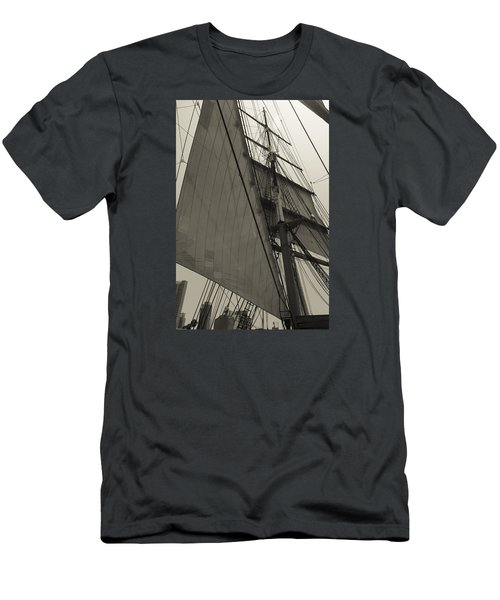 Suare And Triangle Black And White Sepia Men's T-Shirt (Athletic Fit)