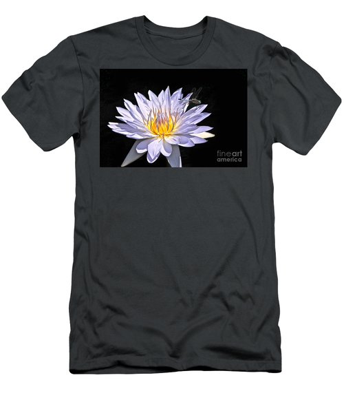 Summer Magic -- Dragonfly On Waterlily On Black Men's T-Shirt (Athletic Fit)