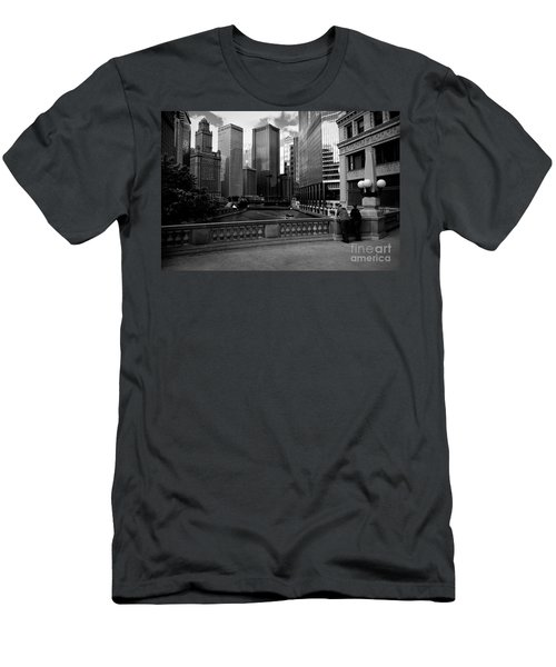 Summer On The Chicago River - Black And White Men's T-Shirt (Athletic Fit)