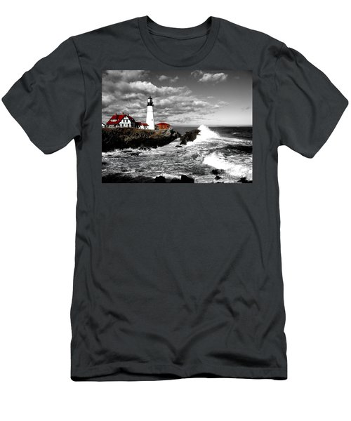 Summer Waves Red Stroke Bw Men's T-Shirt (Athletic Fit)
