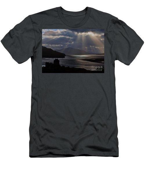 Sun Rays Over Eilean Donan Castle Men's T-Shirt (Athletic Fit)