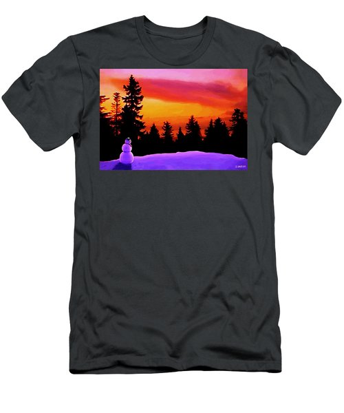 Men's T-Shirt (Slim Fit) featuring the painting Sun Setting On Snow by Sophia Schmierer