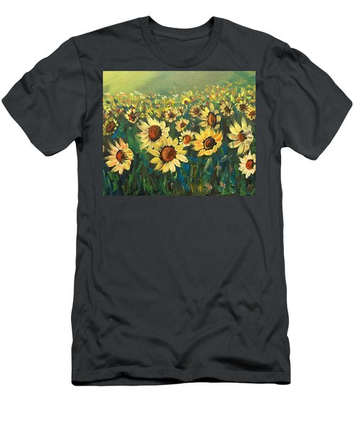 Men's T-Shirt (Slim Fit) featuring the painting Sunflower Field by Dorothy Maier
