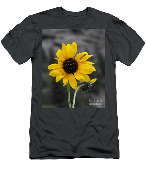 Sunflower On Gray Men's T-Shirt (Athletic Fit)