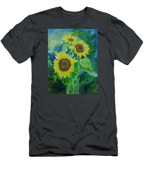 Sunflowers Colorful Sunflower Art Of Original Watercolor Men's T-Shirt (Slim Fit) by Elizabeth Sawyer