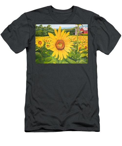 Sunflowers - Red Barn - Pennsylvania Men's T-Shirt (Athletic Fit)