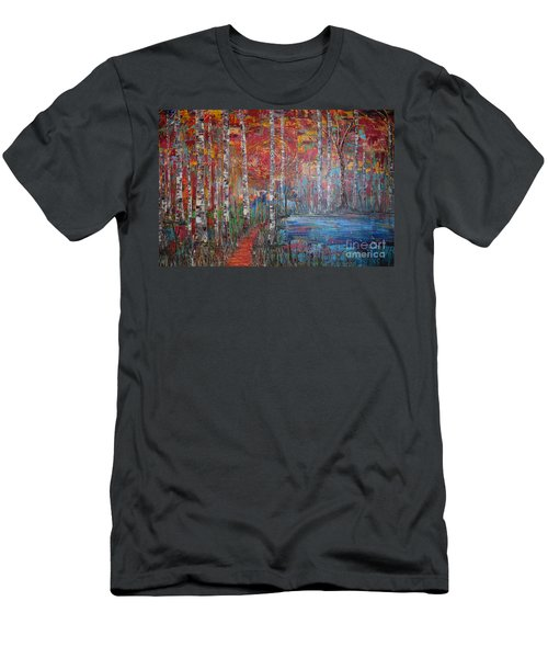 Sunlit Birch Pathway Men's T-Shirt (Athletic Fit)