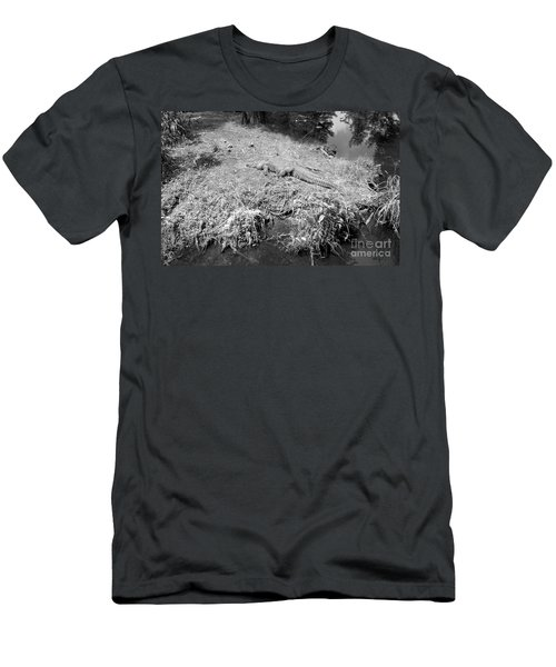 Men's T-Shirt (Slim Fit) featuring the photograph Sunny Gator Black And White by Joseph Baril