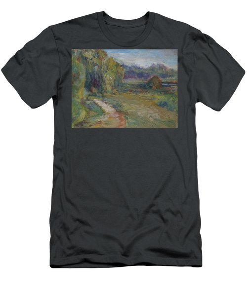 Sunny Morning In The Park -wetlands - Original - Textural Palette Knife Painting Men's T-Shirt (Athletic Fit)