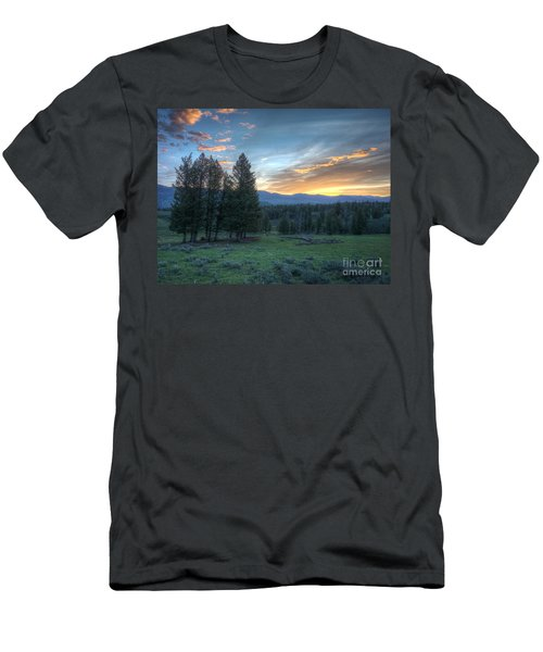 Sunrise Behind Pine Trees In Yellowstone Men's T-Shirt (Athletic Fit)