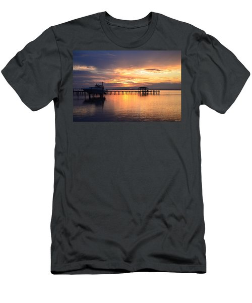 Sunrise Colors On The Sound Men's T-Shirt (Slim Fit) by Jeff at JSJ Photography