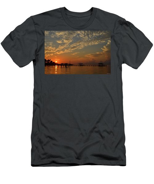 Sunrise Colors With Storms Building On Sound Men's T-Shirt (Slim Fit) by Jeff at JSJ Photography