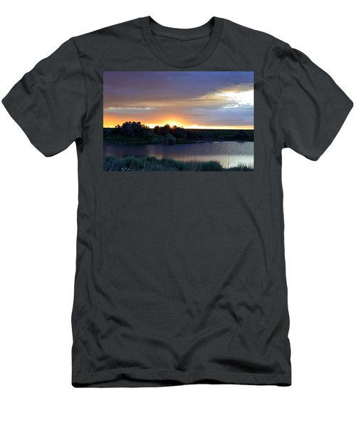 Men's T-Shirt (Slim Fit) featuring the photograph Sunrise Over Kinney Lake by Clarice  Lakota
