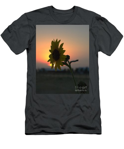 Men's T-Shirt (Athletic Fit) featuring the photograph Sunset And Sunflower by Mae Wertz