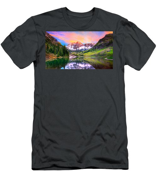 Sunset At Maroon Bells And Maroon Lake Aspen Co Men's T-Shirt (Athletic Fit)
