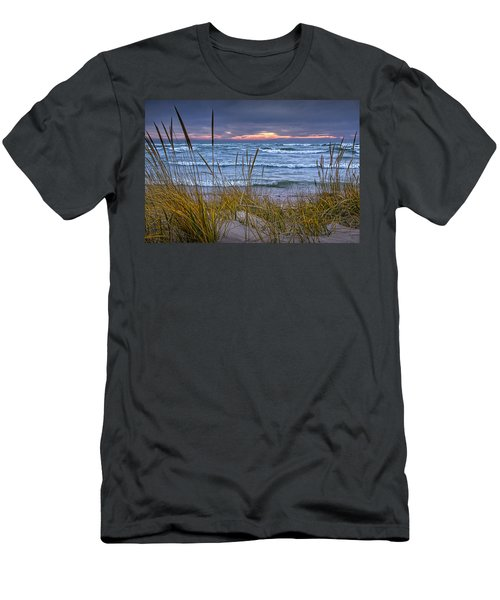 Sunset On The Beach At Lake Michigan With Dune Grass Men's T-Shirt (Athletic Fit)