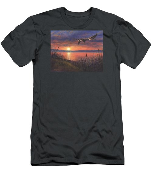 Men's T-Shirt (Slim Fit) featuring the painting Sunset Flight by Kim Lockman