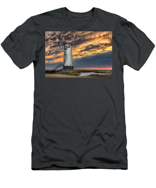 Sunset Lighthouse Men's T-Shirt (Slim Fit) by Adrian Evans