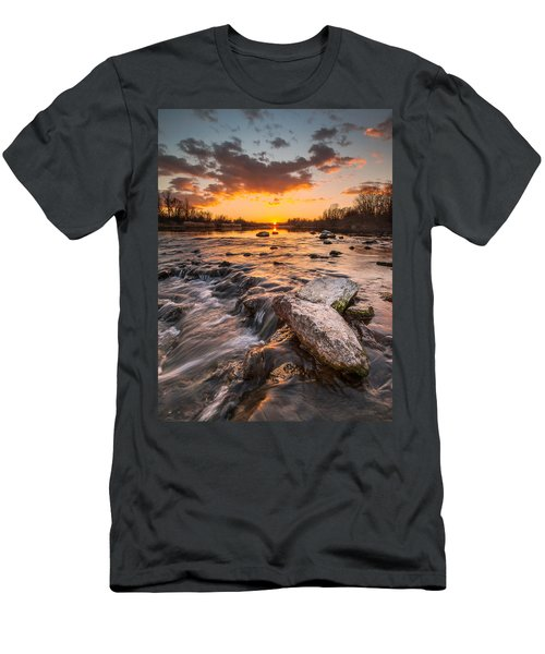 Sunset On River Men's T-Shirt (Slim Fit) by Davorin Mance