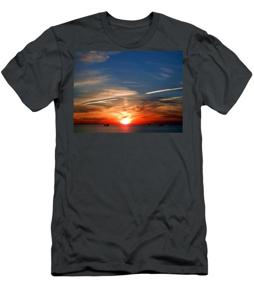 Sunset On The Gulf Of Mexico Men's T-Shirt (Slim Fit) by Debra Martz