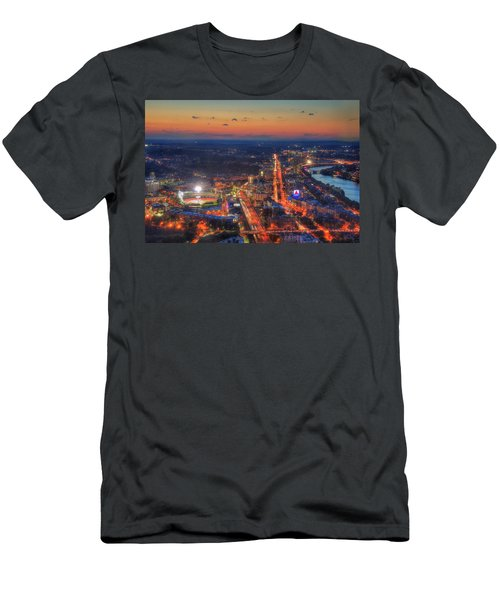 Sunset Over Fenway Park And The Citgo Sign Men's T-Shirt (Slim Fit) by Joann Vitali