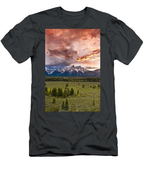 Sunset Over The Tetons  Men's T-Shirt (Athletic Fit)