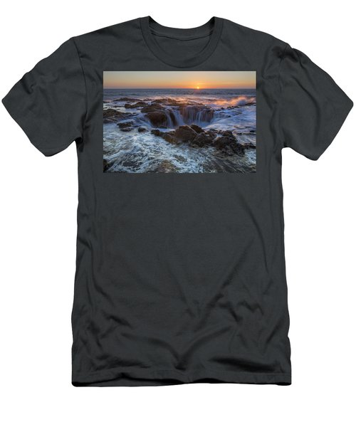 Sunset Over Thor's Well Along Oregon Coast Men's T-Shirt (Athletic Fit)