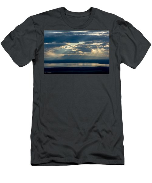 Sunset Rays Over Mount Susitna Men's T-Shirt (Slim Fit) by Andrew Matwijec