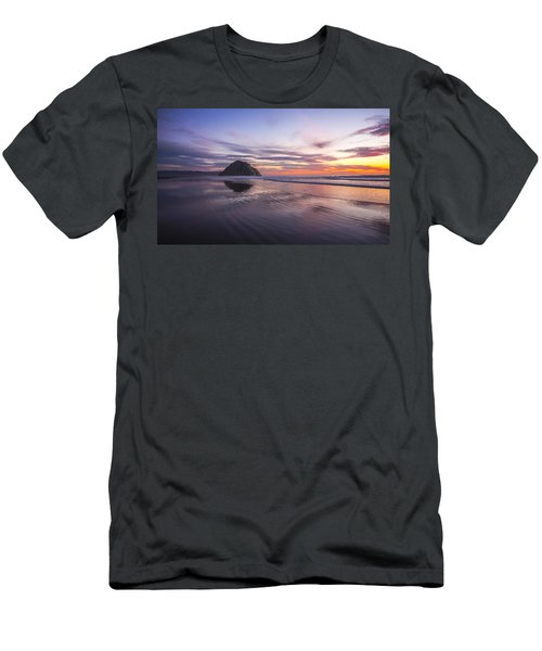 Sunset Reflections At Morro Bay Beach Rock Fine Art Photography Print Men's T-Shirt (Athletic Fit)