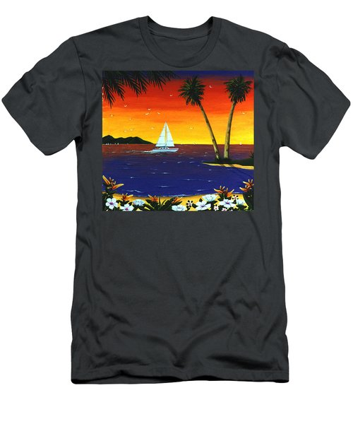 Men's T-Shirt (Slim Fit) featuring the painting Sunset Sails by Lance Headlee