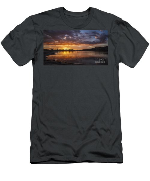Sunset With Clouds Over Malibu Beach Lagoon Estuary Men's T-Shirt (Athletic Fit)