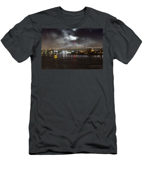 Super Moon And Triboro Bridge Men's T-Shirt (Athletic Fit)