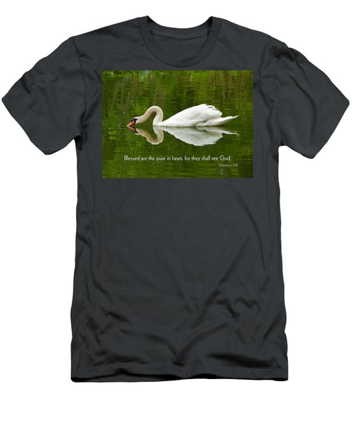 Swan Heart Bible Verse Greeting Card Original Fine Art Photograph Print As A Gift Men's T-Shirt (Athletic Fit)