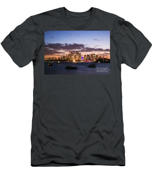 Sydney Skyline At Dusk Australia Men's T-Shirt (Slim Fit) by Matteo Colombo