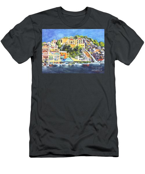 Symi Harbor The Grecian Isle  Men's T-Shirt (Athletic Fit)